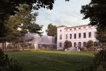 Längs der Freisestraße entsteht das neue Bibliotheksgebäude inklusive des Digital Lab. Architektur: Sehw Architektur GmbH Visualisierung: Third