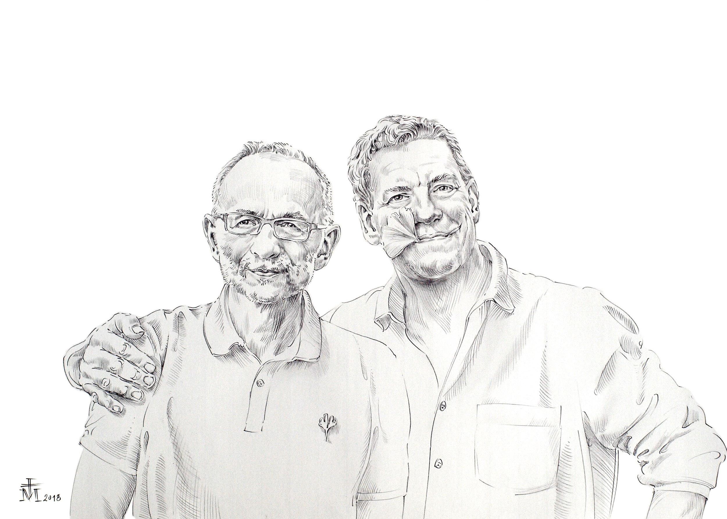 Das GründerDuo Friedhelm Kranz und Martin Bretschneider, mit Ginkgoblatt im Mund. Foto: Magnus Kleine-Tebbe