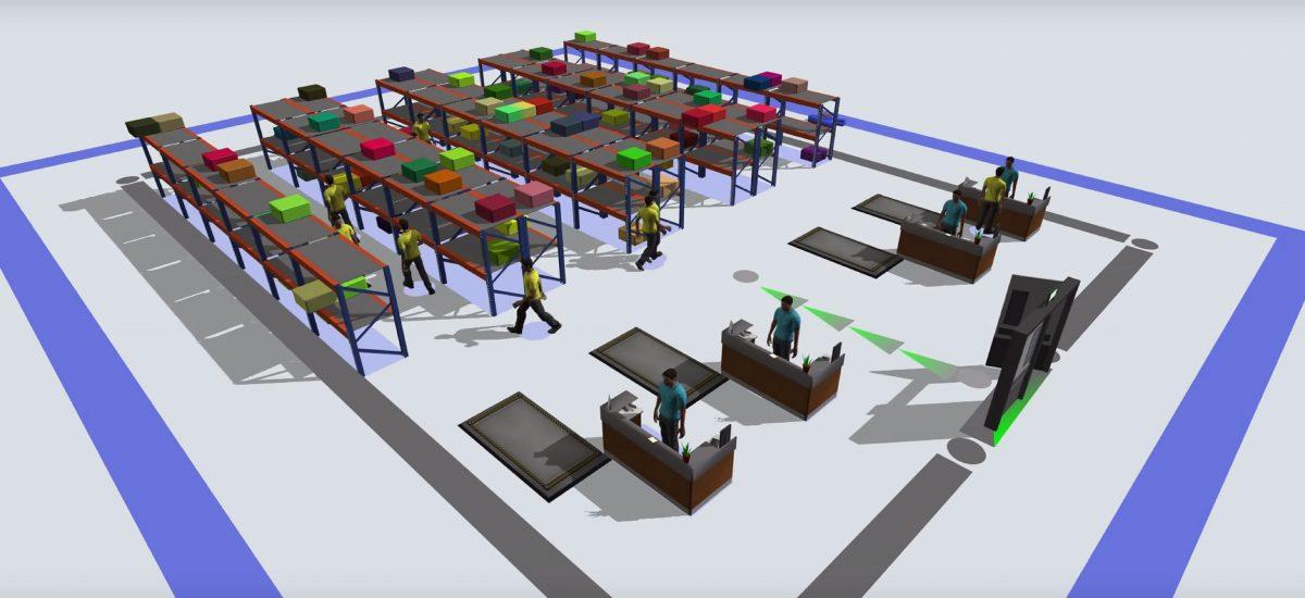 FlexSim-Simulationsmodell: Visualisierung einer Lagerlogistik. Grafik: FlexSim