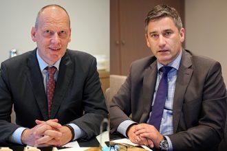 DZ-Bank Chefvolkswirt Stefan Bielmeier und Bankleiter Sascha Köckeritz im Interview. Foto: Holger Isermann