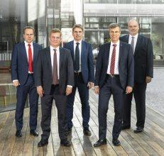 Das fünfköpfige Management der msg-Gruppe: Dr. Jürgen Zehetmaier, Rolf Kranz, Bernhard Lang, Dr. Stephan Fronhoff (Vorsitzender) und Karsten Redenius. Foto: msg.