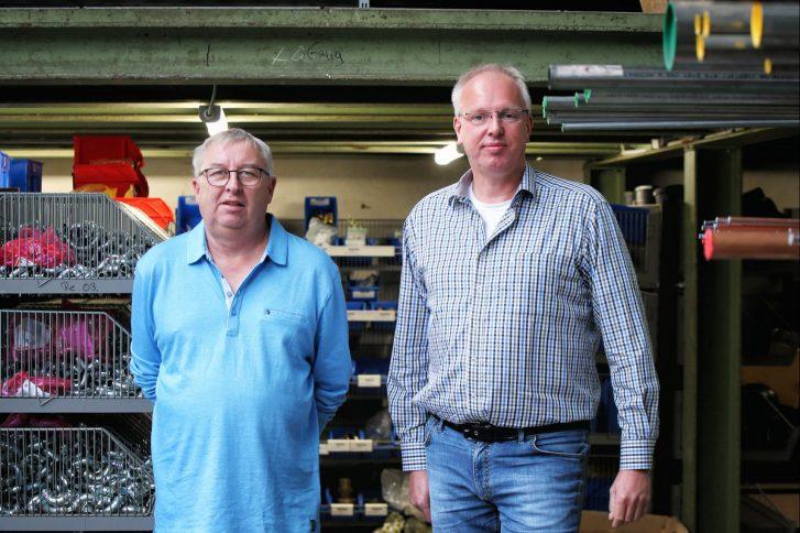 Jens Wegmeyer und Peter Arnold feiern mit ihrer Firma Otto Geiler 75-jähriges Firmenjubiläum. Foto: Stephanie Joedicke.
